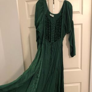 Celtic Witch Medieval Long Green Embroidered dress